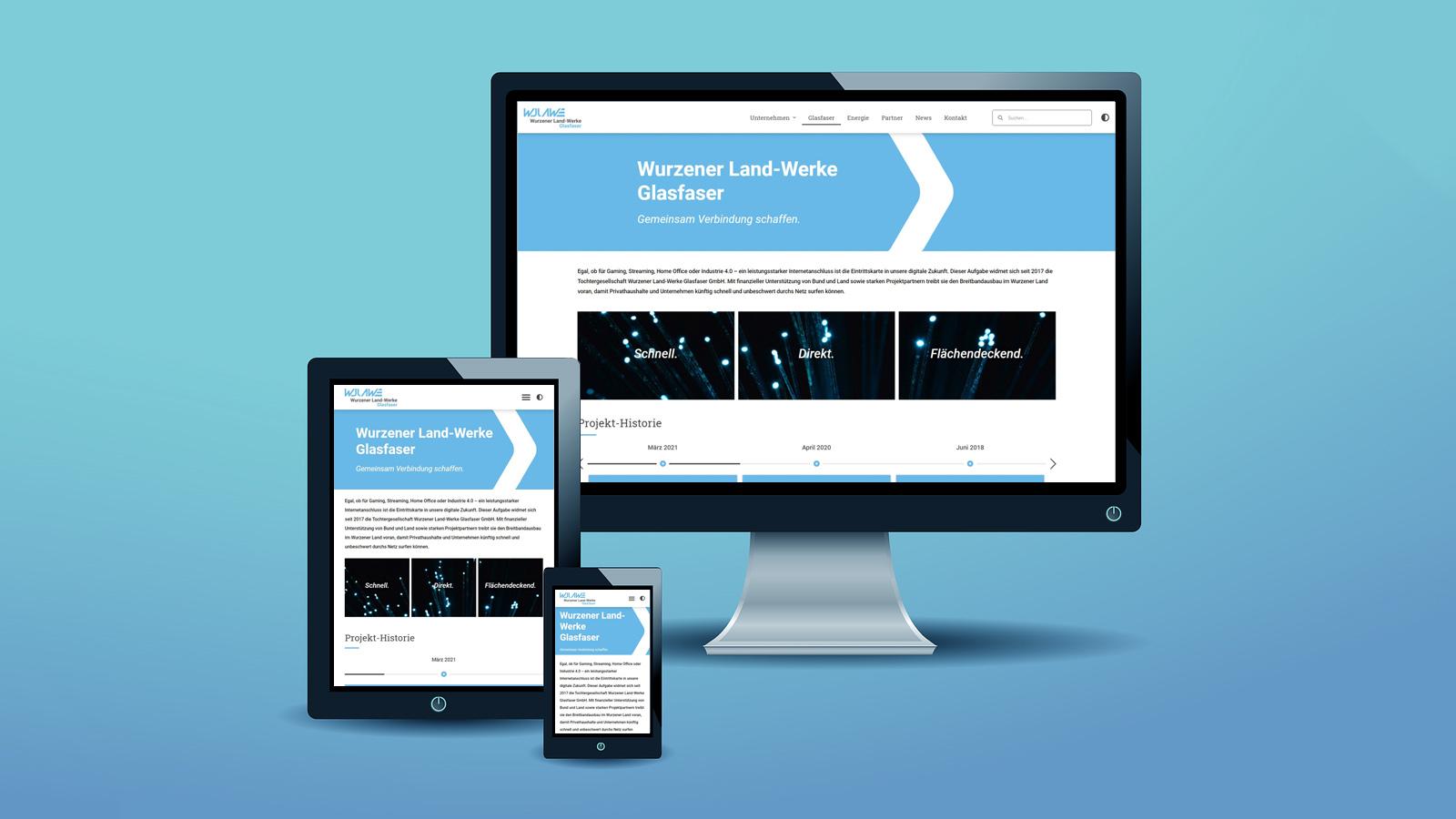 Unterseite der Tochtergesellschaft Wurzener Land-Werke Glasfaser GmbH bei verschiedenen Bildschirmgrößen
